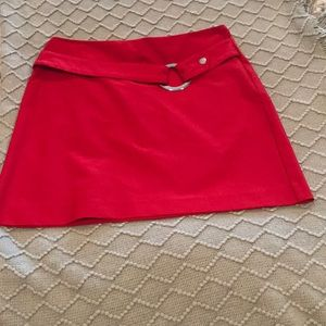 Chache belted red mini skirt